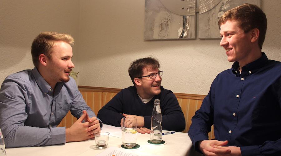 Wahlen bei der Jungen Union in Lübbecke mit dem JU-Kreisvorsitzenden Jonas Horstmann (von links), Michael Biesewinkel sowie dem Lübbecker JU-Chef Florian Bornemann.